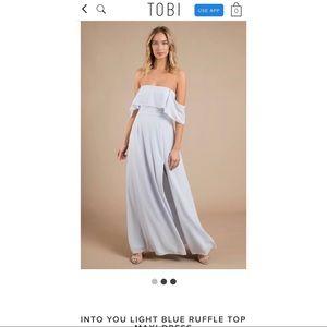 INTO YOU LIGHT BLUE RUFFLE TOP MAXI DRESS